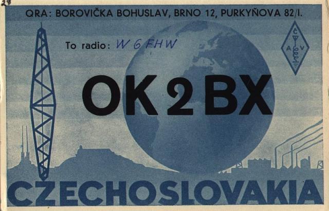 QSL Card OK2BX 1949