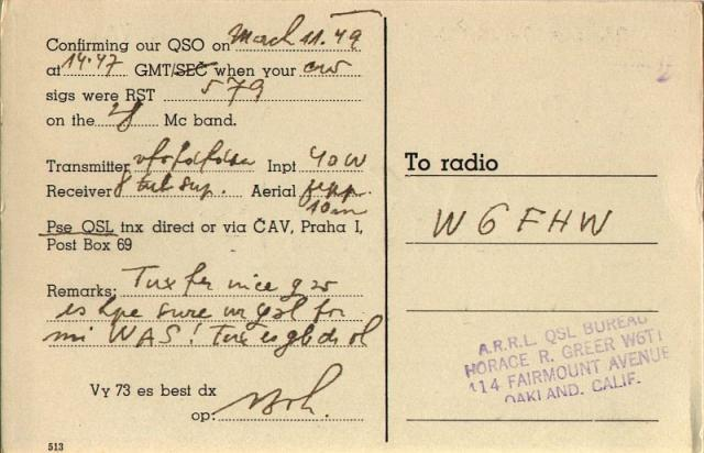 QSL Card OK2BX 1949 - back side